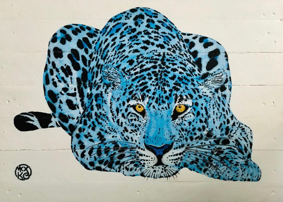 Panthère rêveuse bleue - Mosko - 88 x 63 cm
