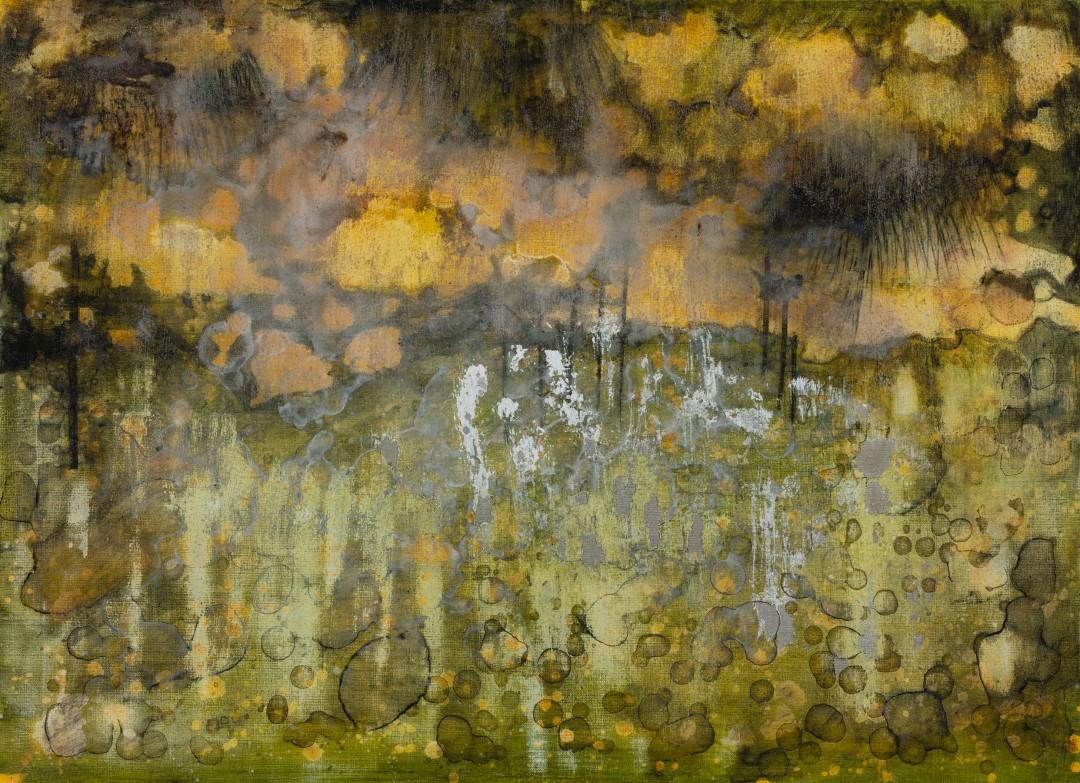 Ab Extra, 2019, technique mixte sur toile, 73 x 100 cm