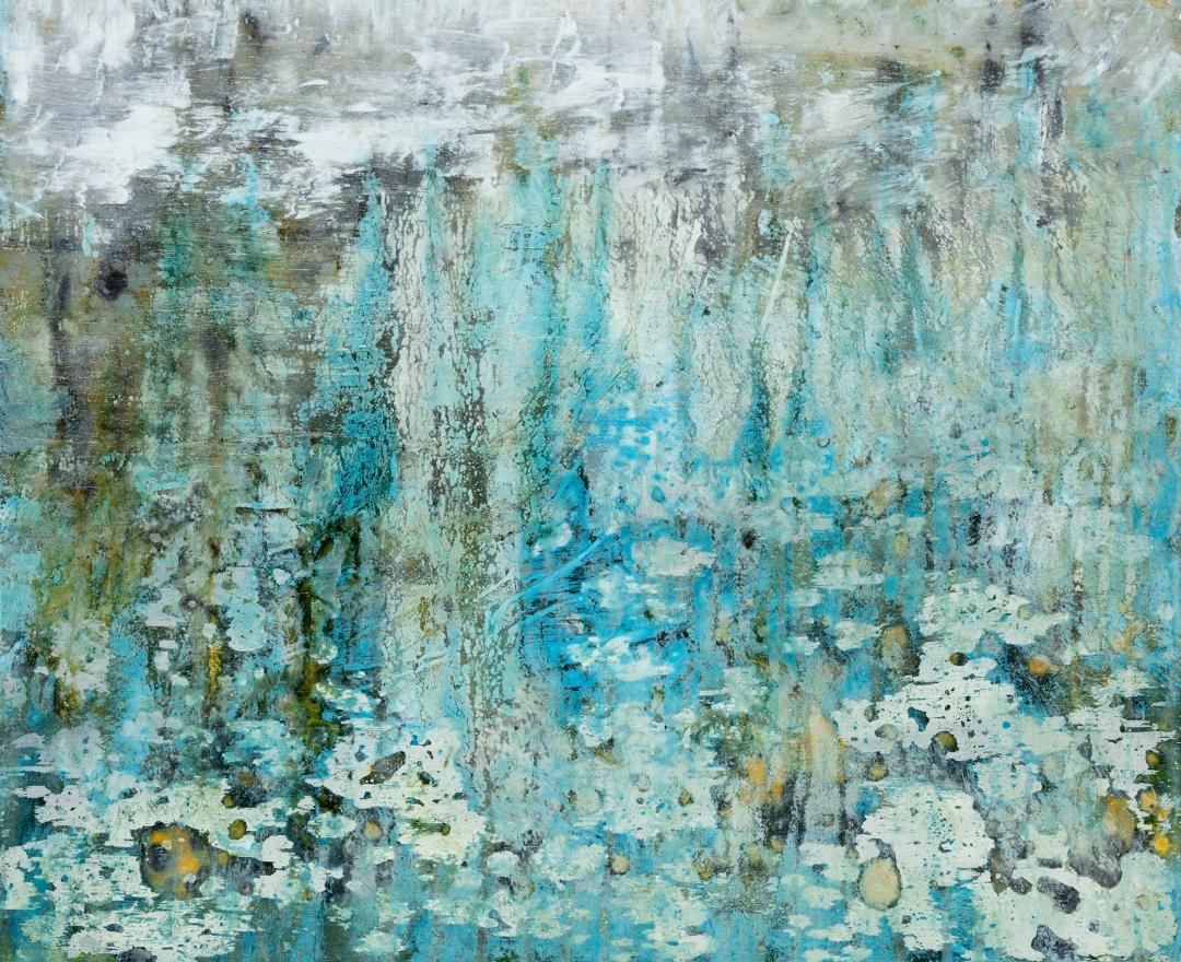 Hommage à Monet, 2019, technique mixte sur toile, 50 x 61 cm