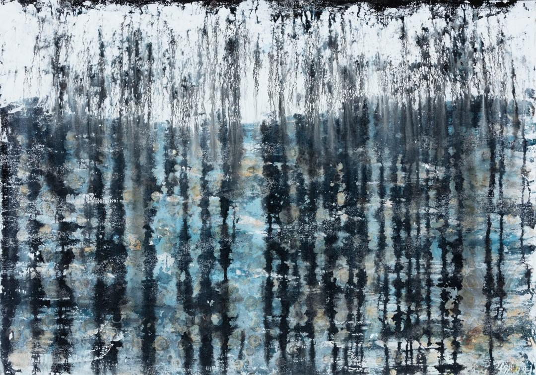 Pluie Noire, 2019, technique mixte sur toile, 65 x 92 cm