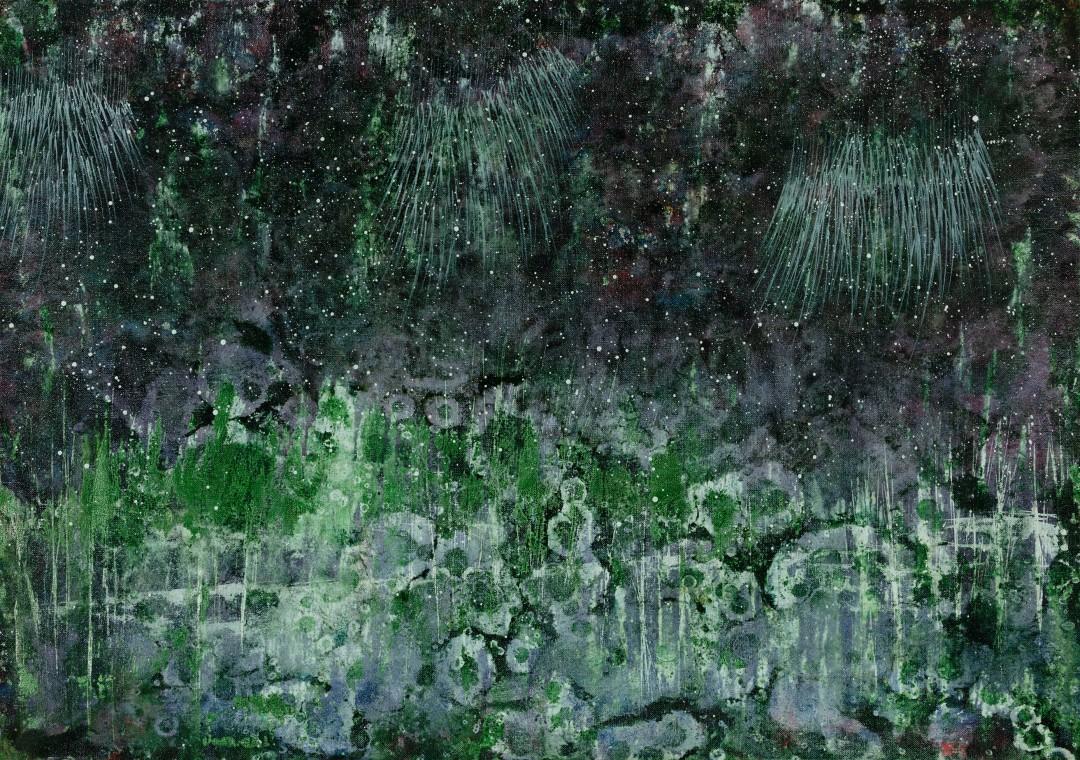 Roseaux, 2019, technique mixte sur toile, 65 x 92 cm