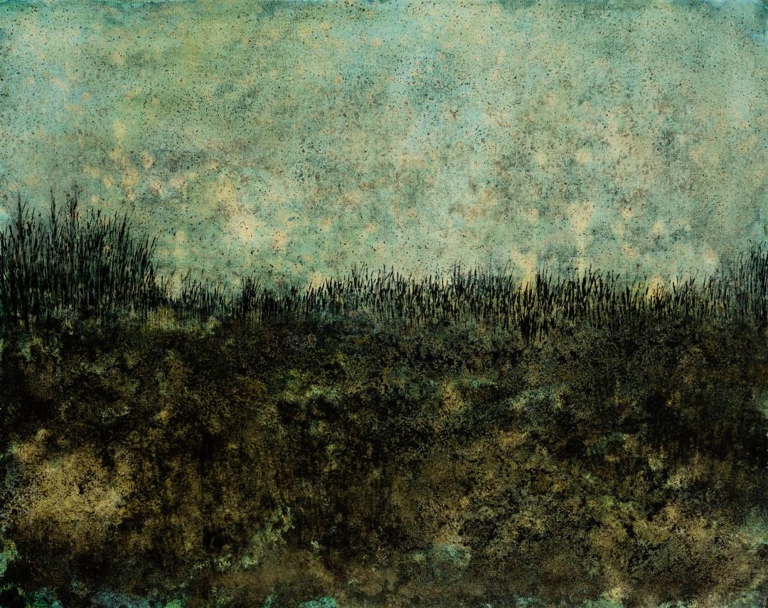 Taïga, 2019, technique mixte sur toile, 73 x 92 cm